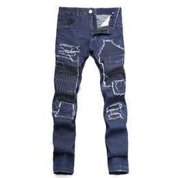 Wholesale Personalized Jeans - 2017 spring and autumn season new men's hole stitching cloth self-cultivation straight jeans personalized European and American