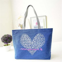 Wholesale Cheapest Wholesale Handbags - Wholesale-Hot Sale 2016 New Heart Printed Women Handbag Canvas Material School Bag Tote The Cheapest Quality Zipper Opening HOT Sale