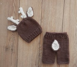 Wholesale Newborn Crochet Hats For Boys - Handmade Crochet Knitted Baby Hat Pants Set Newborn Baby Photography Props For 0-6 Months Christmas Deer Design Costume