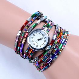 Wholesale Silicone Wristband Bracelet Buckle - Luxury Diamond Wrap Watches Women Girls Quartz Wristwatch Bracelets Leather Wristband Colorful Wrist Watch Charming Bracelet Ladies Gifts