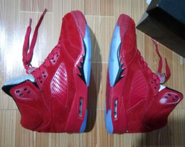 Wholesale Media Suit - Flight Suit 5s Wholesale RETRO 5 RAGING BULL RED suede Best quality Basketball Shoes With Box Men Size Free shipping