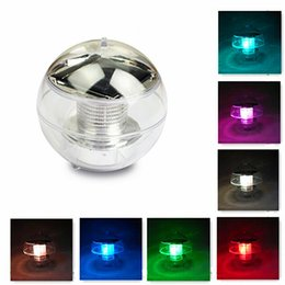 Wholesale Solar Lamp Float - LJP523 Free shipping New Waterproof Solar Floating Pond Rotat 7 Color Changing Lamp LED Light Lamp Ball
