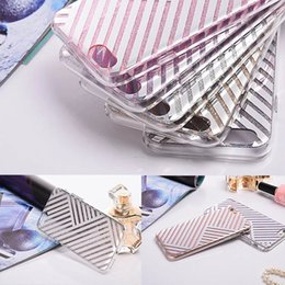 Wholesale Metal Back Iphone Case Bumper - Metal Plating Hybrid Soft TPU Bumper PC Back Cover Glitter Bling Cellphone Protective Full Cover Shell Case For iphone 7 iphone 6plus cases