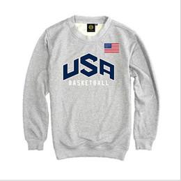Wholesale Natural Baskets - Men's Pullover USA basket-ball Dream Team Sweatshirt Hoodie Solid Color Casual Men's Long Sleeve Sweatshirt Team USA Hoodies Men