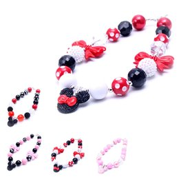 Wholesale Gifts For Baby Girl Wholesale - 2PCS Newest Design Mickey Pendant Necklace Birthday Party Gift For Toddlers Girls Beaded Bubblegum Baby Kids Chunky Necklace Jewelry