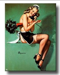 Wholesale Maid Figure - Framed GIL ELVGREN maid phone,Pure Handpainted Pinup Girl Art Oil Painting On Quality Canvas Multi Sizes Free Shipping Pin089