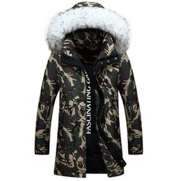 Wholesale Large Collar Jacket Mens - Wholesale- 2016 Thick Camouflage Fur Collar Hooded Mens Winter Jackets Coats M-3XL Plus Large Size Male Parka Outwear winter jacket Coat