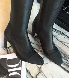 Wholesale Leather Incense - 2017 new winter boots europe small incense elastic double colour color thin leg knee high boots free shipping