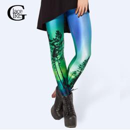Wholesale Galaxy Print Tie - Wholesale- Lace Girl S-4XL Women Leggings Out Wear 2017 Women Green Space Galaxy Tree Print Leggings Elastic 3D Pants Tie Milk Plus Size