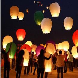 Wholesale Wish Balloons Wedding - Flying Wishing Lamp Chinese Lanterns Paper Kongming Lantern Balloon Sky Lanterns for Birthday Wedding 108*60*40mm Mix Color