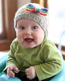 Wholesale Hand Make Baby Girl Cap - Baby Girls Crochet Woolen Yarn Hats with Big Bows Kids Hand Made Knitting Warm Caps Earflap Autumn Winter Beanie Ear Warmer BH12