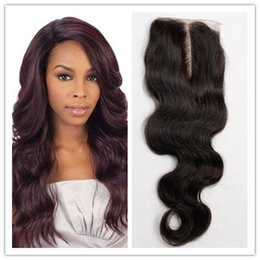 Wholesale 4x4 Top Piece Hair - 8A Brazilian Body Wave Closure 1B 4x4 Inches Swiss Lace Closure Bleached Knots Top Lace Human Hair Closure Piece