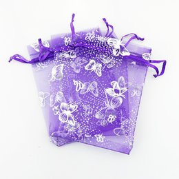 Wholesale Wholesale School Suppliers - 100pcs lot 9x12cm Purple organza bags Iron Silver Butterfl Design drawstring pouches Gift Bags&organza bags with draw wedding suppliers