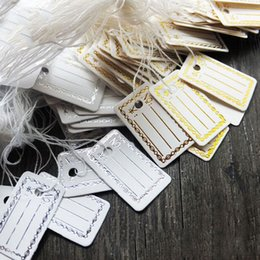 Wholesale Strung Price Tags Wholesale - Wholesale-100Pcs Kraft Paper Tags Label Luggage Wedding Note +String DIY Blank price Hang tag Kraft Gift Silver Gold Colors Wholesale