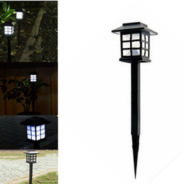 Wholesale Wholesale Solar Lamp Post Lights - Wholesale- 4 Pcs 2016 Hot Waterproof Cottage Style LED Solar Garden Light Outdoor Garden Path Road Lawn Post Lamps Decoration Deck Lighting
