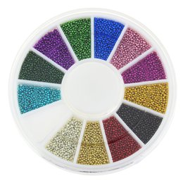 Wholesale Studs For Nail Art - Wholesale-Blueness 12colors Mixed Glitter Beads for 3D Nail Art Jewelry Charms Nails Manicure Decorative Accessories Stud ZP206