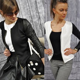 Wholesale Short Jacket Blazers - Black White Colors Fashion New Slim Ladies Women Polyester Long Sleeve Suit Coat Jacket Zipper Blazer CL267
