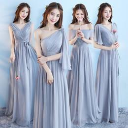 2017 Звезда же стиль зашнуровать розовый / серый цвет 6 стили шифон платья невесты в свадьба, празднование платье, длинные юбки партии от