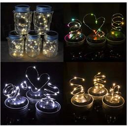 Wholesale Yellow Glass Jar - 6colors Solar Powered LED Mason Jars Light Up Lid 10 LED String Fairy Star Lights Screw on Lids for Mason Glass Jars Christmas Garden Lights