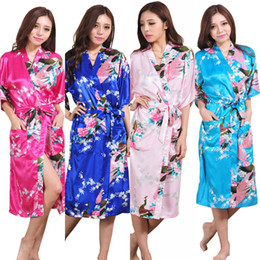 Wholesale mid bride dresses - Wholesale- K1686 Silk Satin Wedding Bride Bridesmaid Robe Floral Bathrobe Long Kimono Night Robe Bath Robe Fashion Dressing Gown For Women