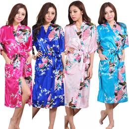 Wholesale Wholesale Robes For Women - Wholesale- K1686 Silk Satin Wedding Bride Bridesmaid Robe Floral Bathrobe Long Kimono Night Robe Bath Robe Fashion Dressing Gown For Women
