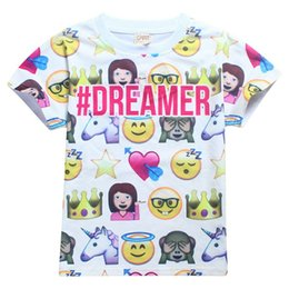 2176bd7f1cff Emoji T-Shirt Clothes Short Sleeved Shirt Tops Baby Boys Girls Cotton White  Tees Youth Kids Clothing on sale