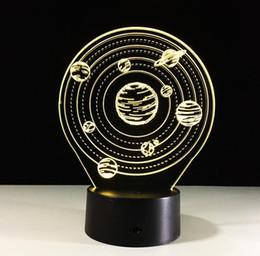 Usb flash 3d en Ligne-Nouveauté Cadeau Chambre Décoratif 3D Univers Galaxie En Forme USB Veilleuse LED 7 Couleurs Clignotant Enfants Chevet Acrylique Lampe De Table