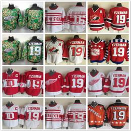 Wholesale Full Wing - Throwback Deriots red wings 19 Steve Yzerman 16 Vladimir Konstantinov red white Ice Hockey Jerseys