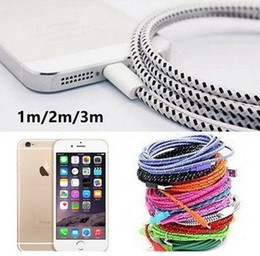 Wholesale Ipad Charger 3m - Multicolor Braided 1M 3FT, 2M 6FT, 3M 10FT USB Data Sync Cable Charger Line for iPhone   iPad   iPod