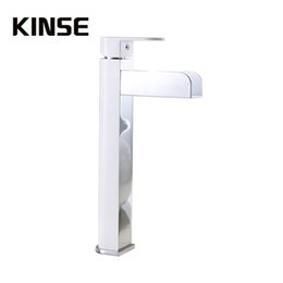 Wholesale Led Water Spout - Deck Mount LED Light Waterfall Spout Bathroom Basin Faucet Vanity Sink Mixer Tap Brass Water Faucets