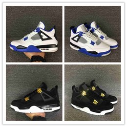 Wholesale Cheap Military Shoes - High Quality Cheap Air Retro 4 Basketball Shoes Men Women 4s Pure Money Royalty White Cement Bred Military Blue Sports Sneakers size 40-47