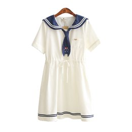 Wholesale Girls Sailor Style Dress - Wholesale- New Summer ladies sailor collar cat embroidery white dress preppy style dresses Girl casual vestidos