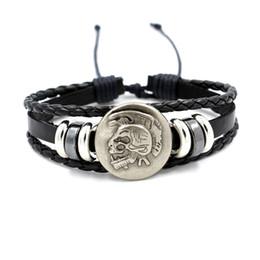 Wholesale European Beads Wood - Simple Retractable Men 's alloy Indian skull Rivet Punk Bracelet Rock Charm Bracelets Men Friends Gifts