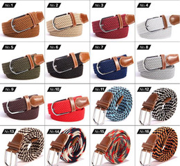 Wholesale Mens Canvas Webbing Belts - Big children Mens Womens Canvas Plain Webbing Metal Buckle Woven Stretch Waist Belt canvas Braided Belts good qulity 50 PCS YYA532