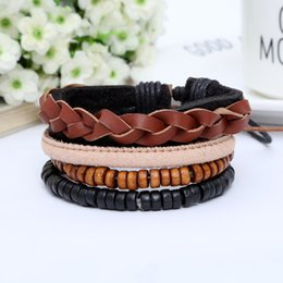 Wholesale Wooden Bangles Jewelry Wholesale - 4pc as a set fashion mens braided leather bracelets mens leather wristbands black wooden beaded chain cuff bangle bracelet jewelry accessory