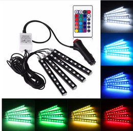Wholesale 12v Amber Led Light - Free Shipping 4Pcs 12V Car RGB LED DRL Strip Light 5050SMD Remote Control Decorative Flexible LED Strip Atmosphere Lamp Kit Fog Lamp