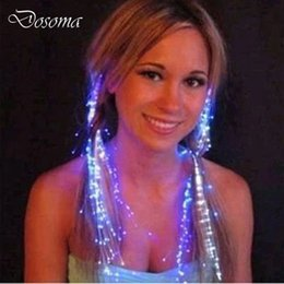 fiber optic light toy Promo Codes - Wholesale- 10pcs LED Headdress Flash Emitting Hairpin Fiber Optic Braid Plait Luminous Hair Wig Halloween Decoration Accessory Girl Toys