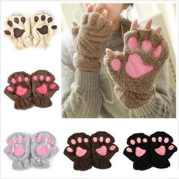 Wholesale Soft Paws Wholesale - Ladies Winter Fingerless Gloves Mittens Fluffy Bear Cat Plush Paw Claw Half Finger Glove Soft Half Covered Women Female Gloves b380