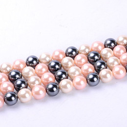 Wholesale Shell Pearl Loose Round Beads - 1pack lot 14mm Fashion Round Ball Natural Shell Pearl Loose Spacer Beads Mixed Multi Colours DIY for Jewelry & Craft necklace