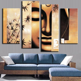 Wholesale Canvas Wall Art Bamboo - 4 Panel Buddha & Bamboo Canvas Art Oil Painting Antique Buda Buddhism Picture Wall Art Home Decoration for Lving Room No Frame