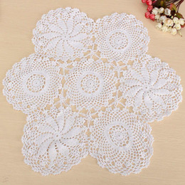 """Wholesale Crochet Round Cloths - Wholesale- 23"""" Round Cotton White Hand Crochet Floral Table Centerpiece Doilies Vintage Lace Knit Coaster Cup Placemat Table Cloth"""
