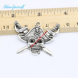 Wholesale Craft Charms Skulls - Wholesale- 8pcs Antique Silver Plated Zinc Alloy Skull Pirate Charms Pendants for Jewelry Making DIY Handmade Craft 34x45mm