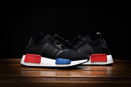Wholesale Free Shopping Online - free shopping 2017 Cheap Online Wholesale NMD R1 Primeknit PK for kids Discount Sales Black Red white NMDd Sneaker Shoes Running Boosts