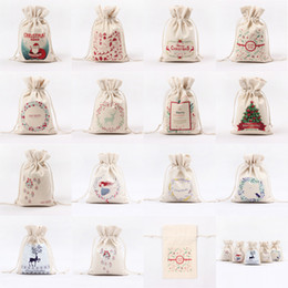 Wholesale santa claus ship - 2017 Christmas Large Canvas Santa Claus Drawstring Bag With Reindeers Christmas Gifts Sack Bags fast shipping