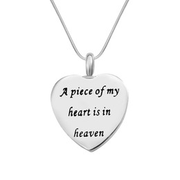 "Wholesale Jewelry Holders For Necklaces - Cremation Jewelry Urn Necklace ""A piece of my heart is in heaven"" Memorial Keepsake Ashes Holder Pendant Funnel for Ash"