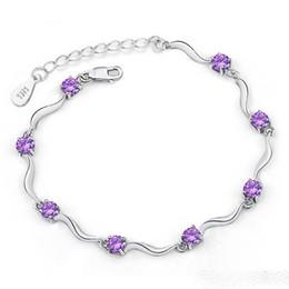 Wholesale Shiny Silver Plated Beads - Charm 925 Silver Bracelet Jewelry Shiny Austria Crystal Women Bracelet Bangles Mix Two Colors 15pcs lot
