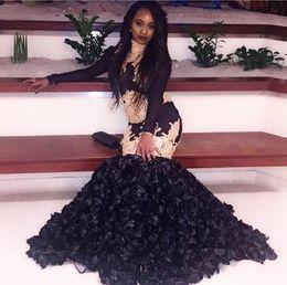 Wholesale Navy Girl Shirts - 2018 sexy cheap black prom dresses evening dress long sleeve black girl prom dress