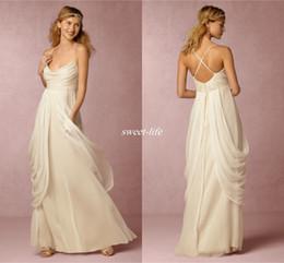 Deusa grega vestidos de noiva on-line-Deusa grega Bohemia 2020 vestidos de noiva uma linha de espaguete plissado Chiffon longo barato Boho Beach vestidos de noiva