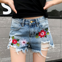 Wholesale Denim Shorts Boots - Wholesale- 2017 New Womens Shorts Embroidery Jeans Female Hot Pants Summer Casual Skinny Denim Shorts Floral Distressed Denim Cutoff Shorts