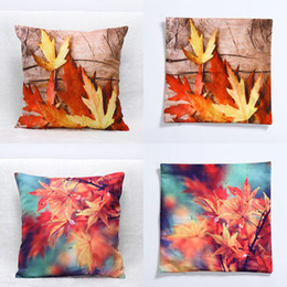 Wholesale Leaf Pillows - Newest Fall Pillow Case 3D Maple Leaf Cushion 45*45CM Home Sofa Car Decor Cushion Cover Decorative Pillow Covers WX9-33